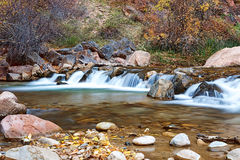 Water flowing through the Virgin river in Zion National Park in USA Royalty Free Stock Photography