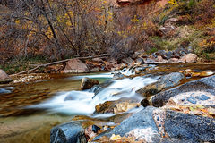 Water flowing through the Virgin river in Zion National Park in USA Stock Photos