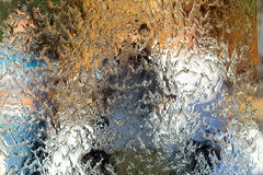 Water flows along the wall of the mirror. Horizontal abstract texture, shiny background stock photos