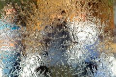 Water flows along the wall of the mirror, horizontal abstract texture. Shiny background stock images