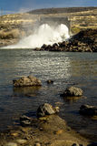 Water flows from an Idaho Dam into the Boise River Royalty Free Stock Photo