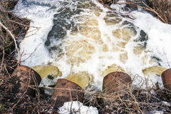Water flows from large pipes Royalty Free Stock Photos