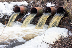 Water flows from large pipes Royalty Free Stock Image