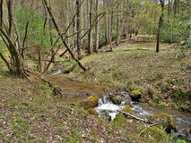Stone Mountain Creek in North Carolina. Water flows over rocks creating small riffles along a sparsely wooded area of Stone Mountain Creek in Stone Mountain Stock Photography