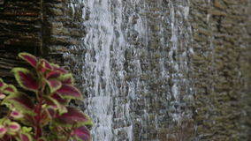 Water flows through stone wall stock video