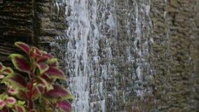 Water flows through stone wall Stock Photos