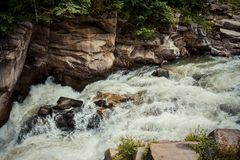 Water flows swiftly over a stream's rocky bottom Stock Photos