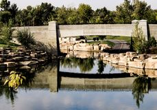 Water Under the Bridge. Water flows under a bridge in a Boise Park royalty free stock images