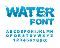 Water font. Aqua alphabet. Drops of water ABC. Wet Letters Royalty Free Stock Photography