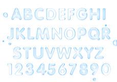 Water font. Latin alphabet made of water. Royalty Free Stock Images