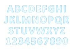 Water font. Latin alphabet made of water. Stock Photos