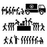 Water Food Stock Supply Relief Stick Figure Pictog. A set of people pictogram representing government helping citizen in water and food supply stock illustration