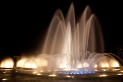 Water Fountain. Famous Sonorous Fountain in Brasilia the capital of Brazil. Colorful night time light show Royalty Free Stock Image