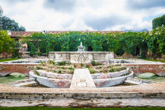 Water Fountain in ancient convent ruins - Antigua, Guatemala Royalty Free Stock Images