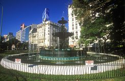 Water fountain on Avenida 9 de Julio, widest avenue in the world, Buenos Aires, Argentina Royalty Free Stock Image