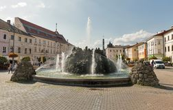 Water fountain in Banska Bystrica, Slovakia. Royalty Free Stock Images