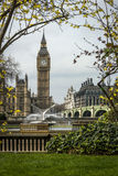 Water Fountain and Big Ben Stock Photography