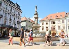 Water fountain in Bratislava Stock Photo
