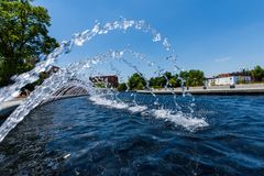 Water Fountain in Carrol Creek Promenade in Frederick, Maryland Royalty Free Stock Photo