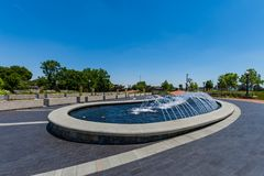 Water Fountain in Carrol Creek Promenade in Frederick, Maryland Stock Image