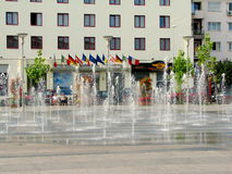 Water fountain in the city center of Bacau. Bacău is the main city in Bacău County, Romania. As of 2011 census, it is the 15th largest city in Romania Royalty Free Stock Photos