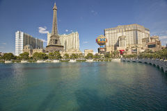 Water fountain display at Bellagio Casino with Paris Casino and Eiffel Tower in Las Vegas, NV Stock Images