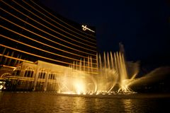 Water fountain. Water display in front of a casino hotel in Macau Stock Image