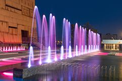 Water fountain at European Solidarity Centre in Gdansk at night.  stock images