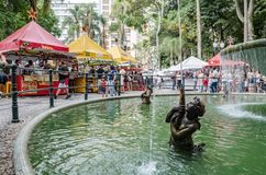 Water Fountain at Feira da Praca General Osorio. Curitiba - PR, Brazil - December 15, 2018: Water fountain at the open air fair at Feira da Praca General Osorio royalty free stock image