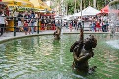 Water Fountain at Feira da Praca General Osorio. Curitiba - PR, Brazil - December 15, 2018: Water fountain at the open air fair at Feira da Praca General Osorio royalty free stock photos