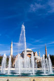 Water fountain. Former Orthodox church Hagia Sofia in the background. Stock Photo