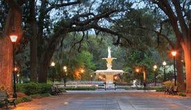 Water Fountain Forsyth Park Savannah GA stock photography