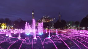 Water fountain in front of Sultan Ahmed Mosque, Istanbul stock video