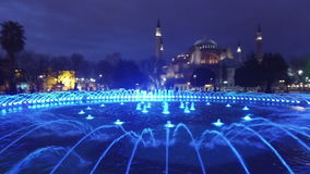 Water fountain in front of Sultan Ahmed Mosque, Istanbul stock video footage