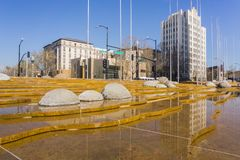 The water fountain in front of the modern City Hall building of San José, Silicon Valley, California stock photo