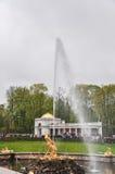 Water fountain golden statue, Peterhof palace Royalty Free Stock Photo