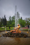 Water fountain golden statue, Peterhof palace Royalty Free Stock Image