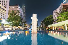 Water Fountain and High-rise Buildings royalty free stock photo
