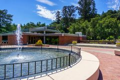 Water fountain in Los Gatos Civic Center; the Town Hall building visible in the background; south San Francisco bay area,. California stock image