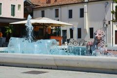 Water fountain in Mirano, Italy. Public memorial in honour of Paolo Errera in Mirano town, in Veneto, Italy Stock Photo