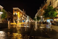 Water fountain at night in old city royalty free stock photos