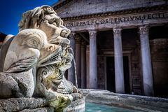 Water Fountain Pantheon Exterior, Rome. The Exterior of the Pantheon, Rome, Italy and a water fountain Royalty Free Stock Photography