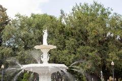Water Fountain in Park. Beautiful old fountain in Forsyth Park in Savannah, Georgia stock photos