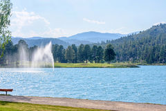 Water fountain in park of Ruidoso stock photos