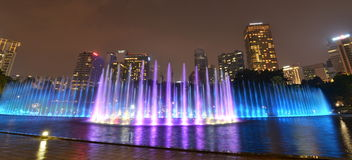 Water fountain show at KLCC park. Kuala Lumpur. Malaysia Royalty Free Stock Photography