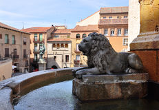 Water Fountain, square Juan Bravo, Segovia, Spain Royalty Free Stock Photo