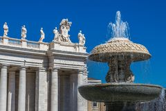 Water fountain and Statues, Rome. Beautiful Water fountain and Statues, St Peters Square, Rome, Italy Royalty Free Stock Photography