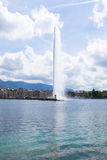 The water fountain symbol of geneva switzerland Royalty Free Stock Photo