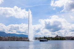 The water fountain symbol of geneva switzerland Stock Photos