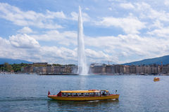 The water fountain symbol of geneva switzerland Royalty Free Stock Image